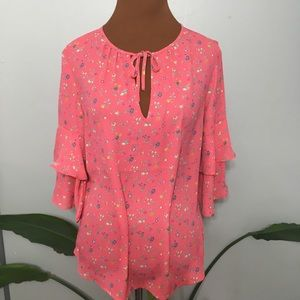 NWT Gap coral floral blouse with ruffle sleeves